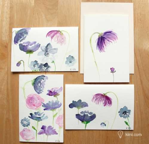 水彩画入门 手绘一张清新美好的花卉卡片